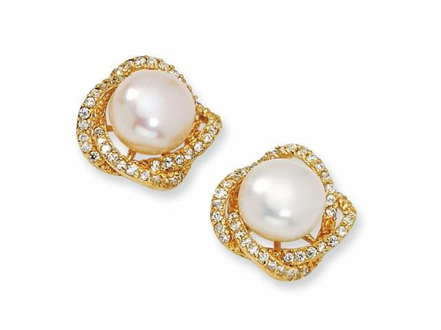 Gold-plated Sterling Silver CZ White Cultured Pearl Post Earrings