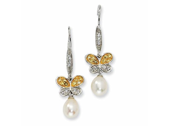 Sterling Silver CZ Cultured Pearl Butterfly Dangle Earrings