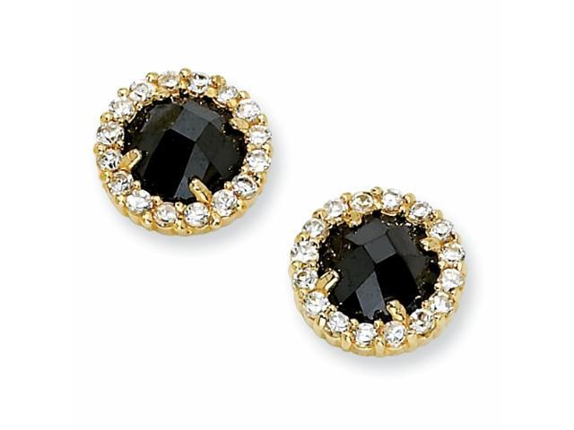 Gold-plated Sterling Silver Checker-cut Blk & Wht CZ Post Earrings