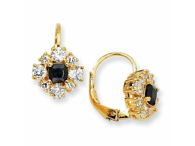 Gold-plated Sterling Silver Black & White CZ Leverback Earrings