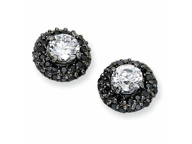 Black-plated Sterling Silver White & Black CZ Post Earrings