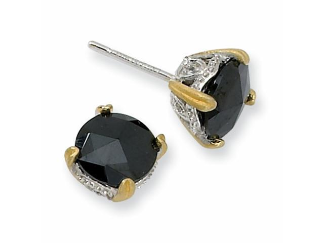 Sterling Silver & Gold-plated 8mm Rose-cut Black CZ Stud Earrings