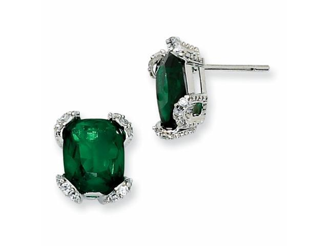 Sterling Silver Simulated Emerald & CZ Post Earrings