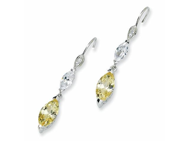 Sterling Silver Marquise Canary/White CZ Dangle French Wire Earrings
