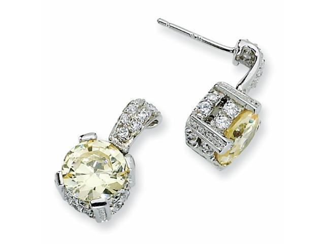 Sterling Silver 8mm Canary & White CZ Dangle Post Earrings