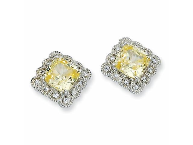 Sterling Silver Canary & White CZ Fancy Square Post Earrings