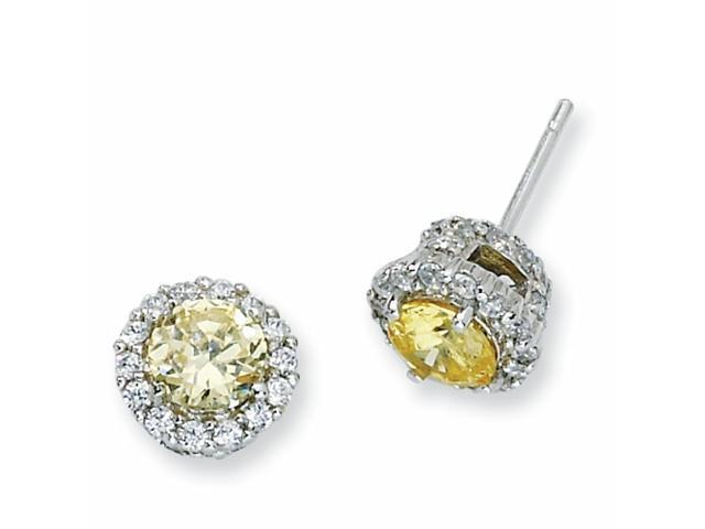 Sterling Silver Canary & White CZ Round Post Earrings