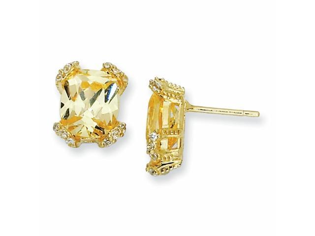 Sterling Silver Canary & White CZ Post Earrings