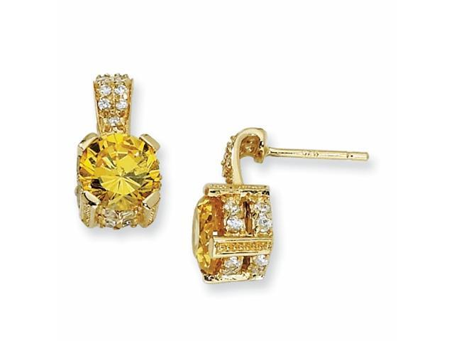 Gold-plated Sterling Silver 8mm Yell & Wht CZ Dangle Post Earrings