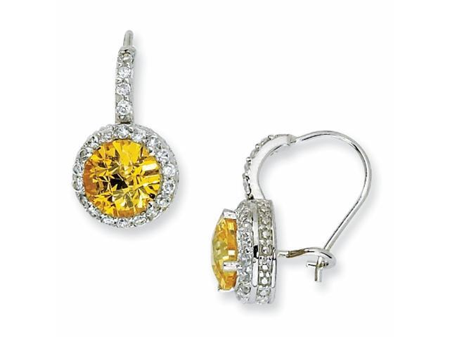 Sterling Silver Checker-cut Yellow & White CZ French Wire Earrings