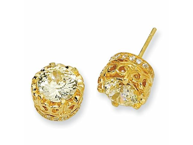 Gold-plated Sterling Silver 100-facet Canary CZ Round Post Earrings