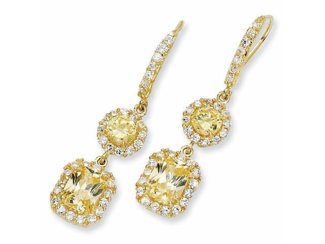 Gold-plated Sterling Silver Canary/White CZ French Wire Earrings