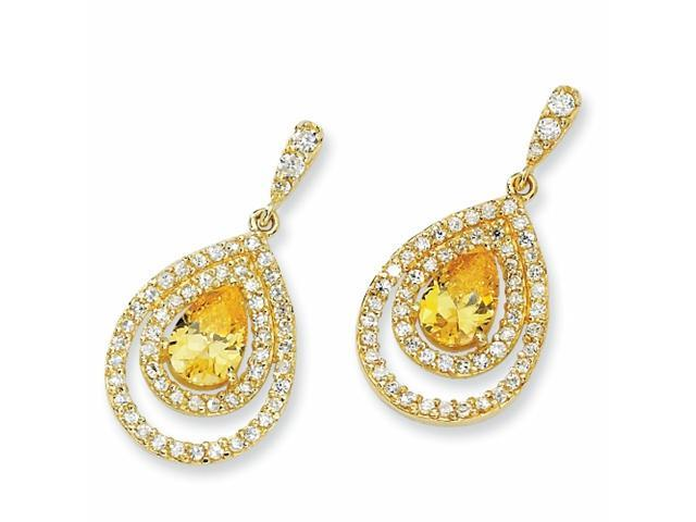 Gold-plated Sterling Silver Canary/Wht Pear CZ Dangle Post Earrings