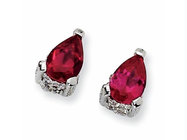 Sterling Silver Pear-shape Synthetic Ruby & CZ Post Earrings