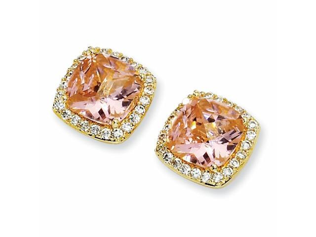 Gold-plated Sterling Silver Rose-cut Pink CZ Square Post Earrings