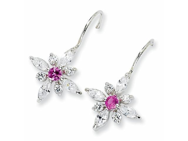 Sterling Silver Synthethic Pink Sapphire & CZ Floral Wire Earrings