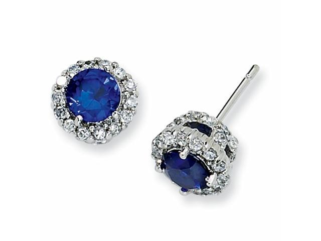 Sterling Silver Synthetic Sapphire & CZ Round Post Earrings
