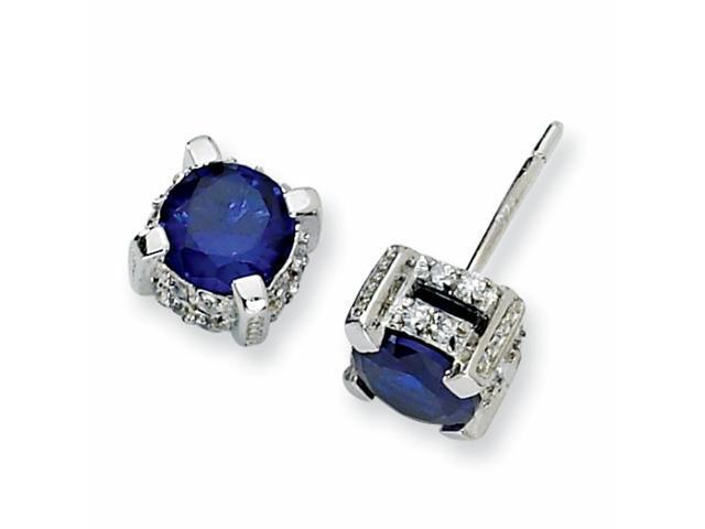 Sterling Silver 6.5mm Synthetic Sapphire & CZ Stud Earrings