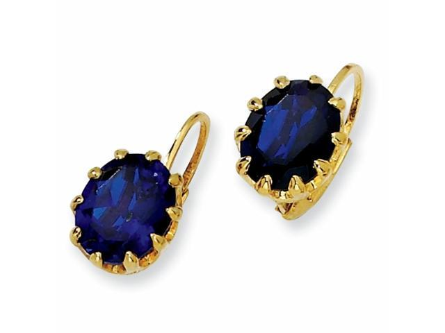 Gold-plated Sterling Silver Synth.Sapphire & CZ Leverback Earrings