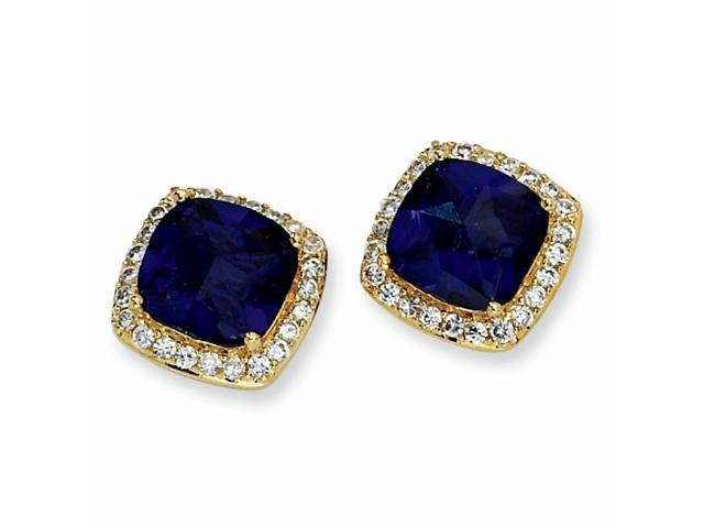 Gold-plated Sterling Silver Rose-cut Synth Sapphire/CZ Post Earrings