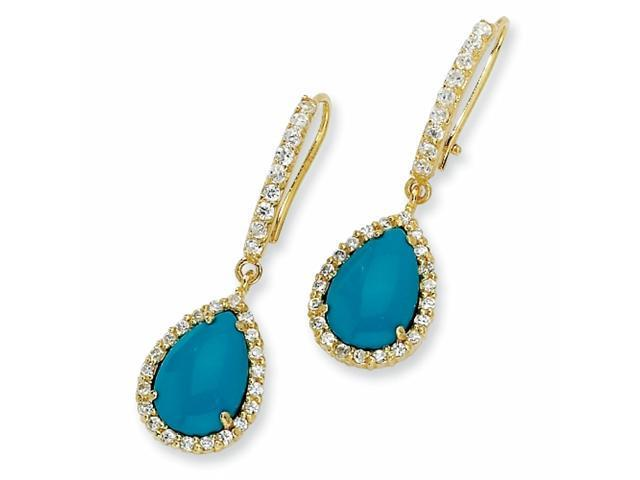 Gold-plated Sterling Silver Sim.Turquoise & CZ French Wire Earrings