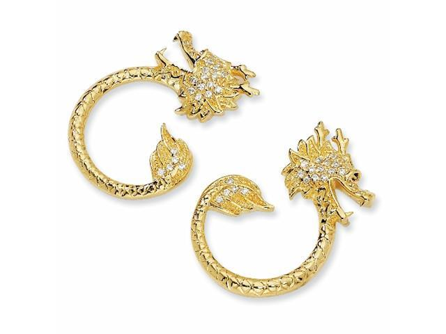 Gold-plated Sterling Silver CZ Dragon Post Earrings