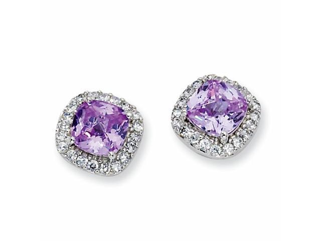 Sterling Silver Rose-cut Lavender & White CZ Square Post Earrings