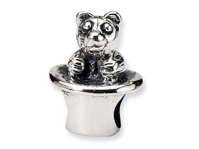Sterling Silver SimStars Reflections Kids Bear in Hat Bead