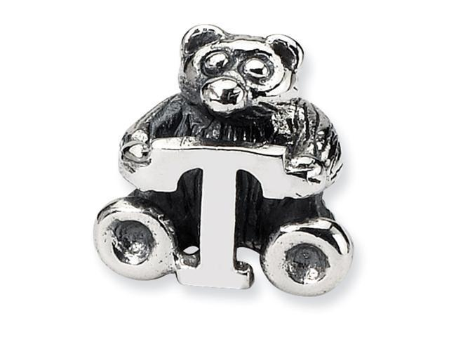 Sterling Silver SimStars Reflections Kids Letter T Bead