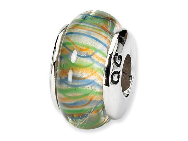 Sterling Silver SimStars Reflections GreenPastel Striped Hand-blown GlaSterling Silver Bead