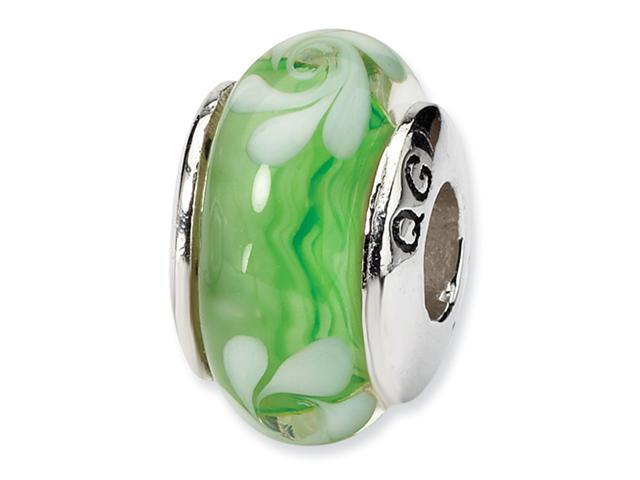 Sterling Silver SimStars Reflections Green/White Hand-blown GlaSterling Silver Bead