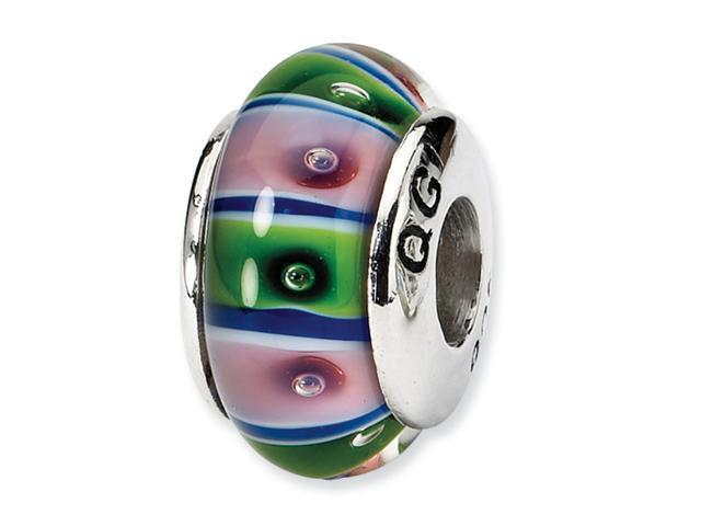 Sterling Silver SimStars Reflections Green/Pink Hand-blown GlaSterling Silver Bead
