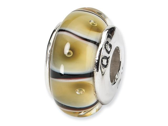Sterling Silver SimStars Reflections Yellow Hand-blown GlaSterling Silver Bead