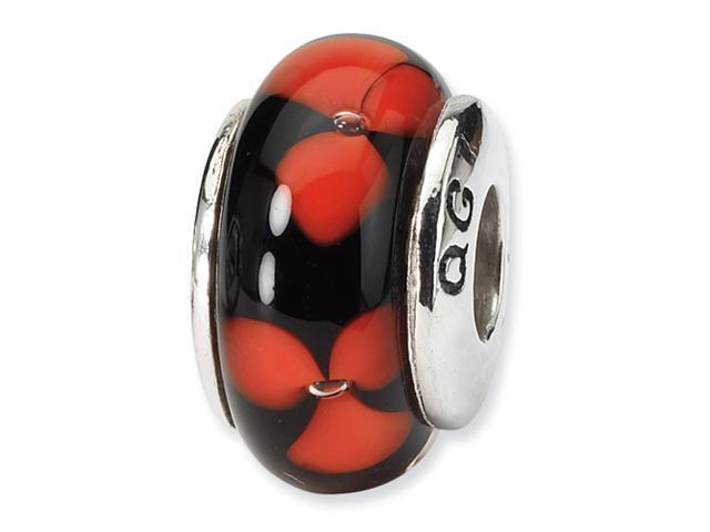 Sterling Silver SimStars Reflections Red/Black Hand-blown GlaSterling Silver Bead