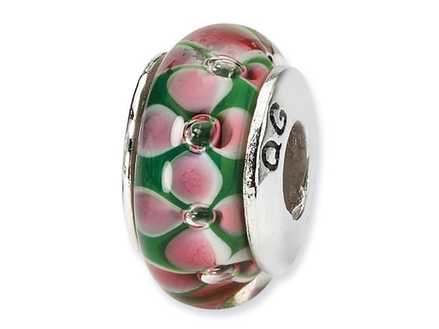 Sterling Silver SimStars Reflections Pink/Green Hand-blown GlaSterling Silver Bead