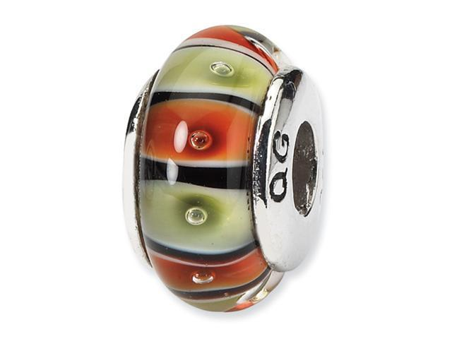 Sterling Silver SimStars Reflections Orange,Red/Lt Green GlaSterling Silver Bead