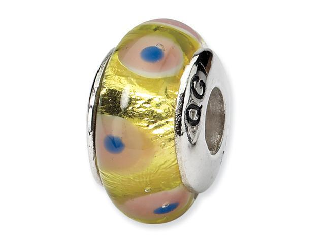 Sterling Silver SimStars Reflections Pink/Yellow Hand-blown GlaSterling Silver Bead