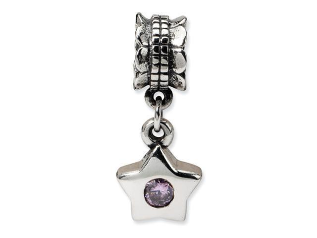 Sterling Silver SimStars Reflections Pink CZ Star Dangle Bead
