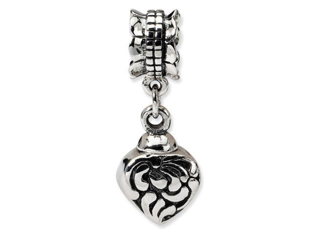 Sterling Silver SimStars Reflections Heart Ash Dangle Bead