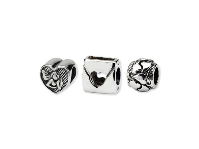 Sterling Silver SimStars Reflections Love Boxed Bead Set