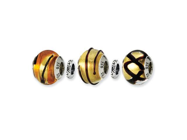 Sterling Silver SimStars Reflections Golden Glitz Boxed Bead Set