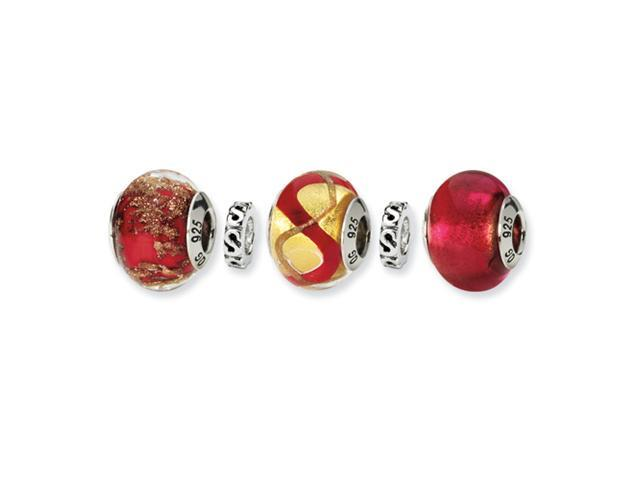 Sterling Silver SimStars Reflections Red Hot Mama Boxed Bead Set