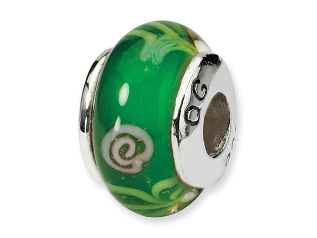 Sterling Silver SimStars Reflections Kids Green Hand-blown GlaSterling Silver Bead