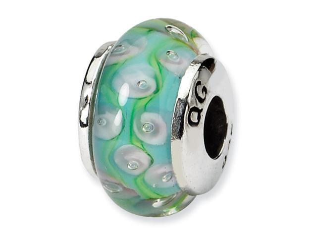 Sterling Silver SimStars Reflections Kids Blue&Green Hand-blown GlaSterling Silver Bead
