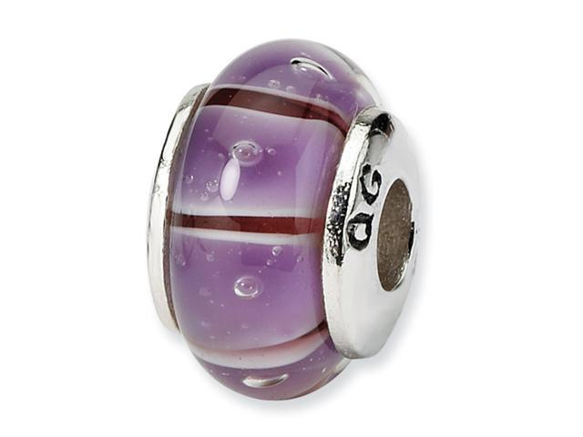 Sterling Silver SimStars Reflections Kids Purple Hand-blown GlaSterling Silver Bead