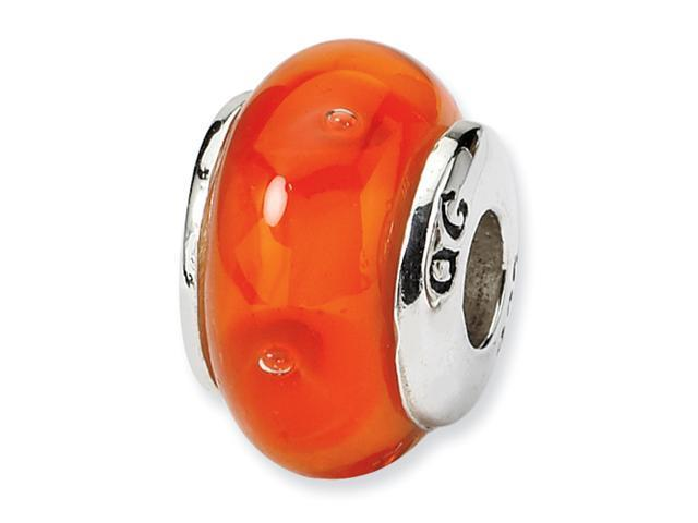 Sterling Silver SimStars Reflections Kids Orange Hand-blown GlaSterling Silver Bead