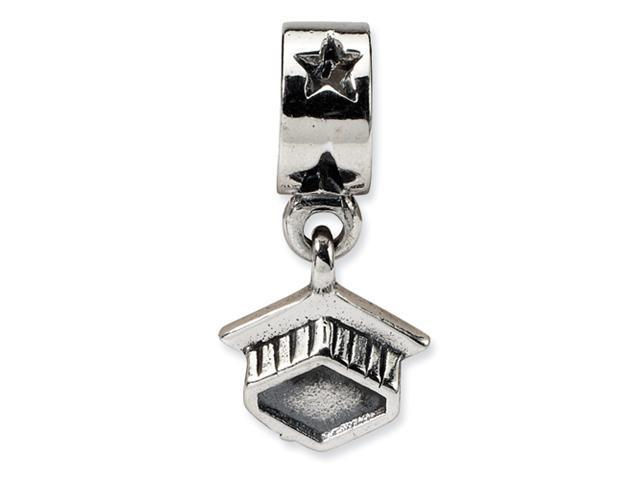 Sterling Silver SimStars Reflections Graduation Cap Dangle Bead