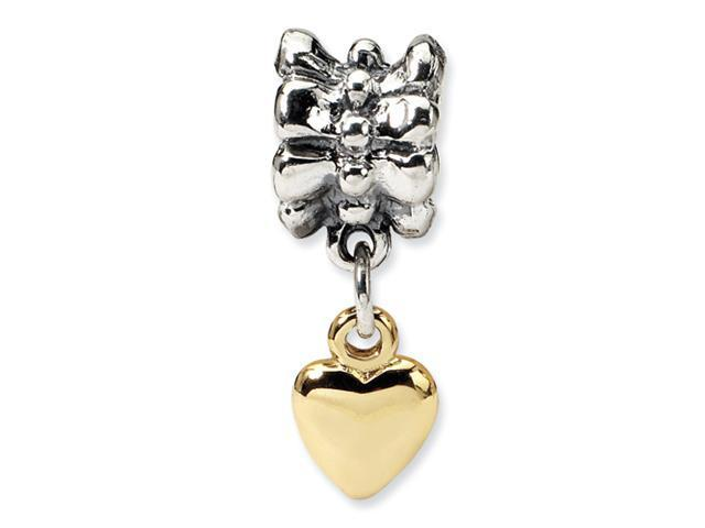 Sterling Silver & 14k SimStars Reflections Heart Dangle Bead