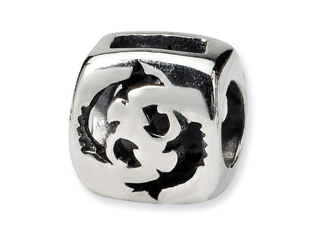 Sterling Silver SimStars Reflections Pisces Zodiac Antiqued Bead