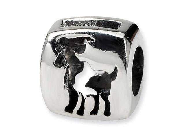 Sterling Silver SimStars Reflections Aries Zodiac Antiqued Bead